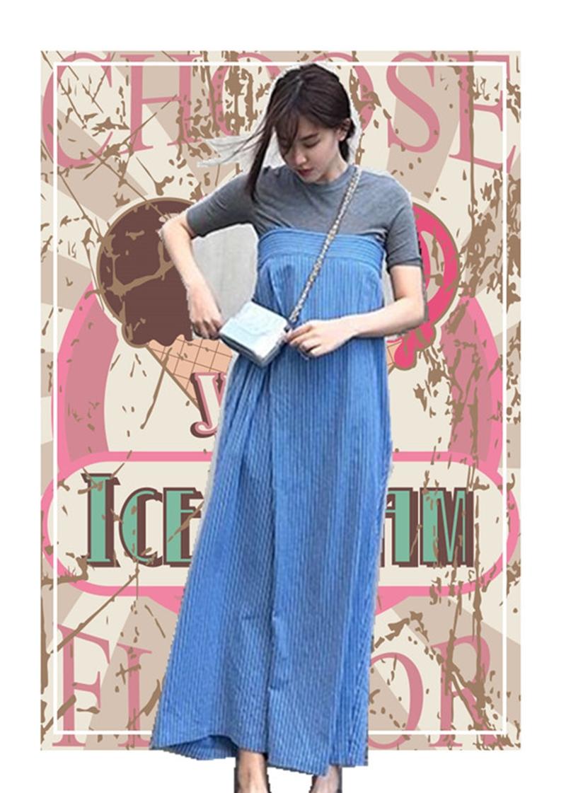 韓国 ファッション オールインワン オーバーオール 春 夏 秋 カジュアル PTXI665  タック ワイドパンツ アシメ チューブワンピ風 オルチャン シンプル 定番 セレカジの写真3枚目