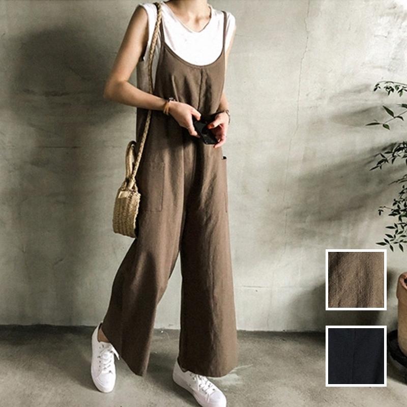 韓国 ファッション オールインワン オーバーオール 春 夏 秋 カジュアル PTXI712  コットンリネン風 ゆったり ラフ シンプル オルチャン シンプル 定番 セレカジの写真1枚目