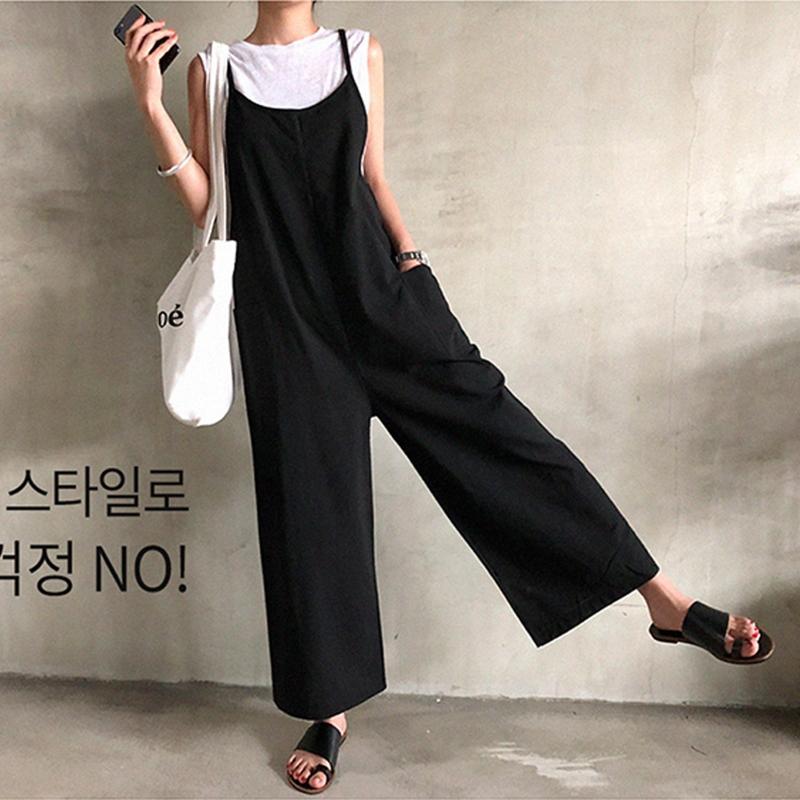 韓国 ファッション オールインワン オーバーオール 春 夏 秋 カジュアル PTXI712  コットンリネン風 ゆったり ラフ シンプル オルチャン シンプル 定番 セレカジの写真2枚目