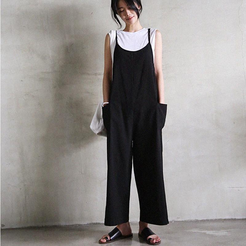 韓国 ファッション オールインワン オーバーオール 春 夏 秋 カジュアル PTXI712  コットンリネン風 ゆったり ラフ シンプル オルチャン シンプル 定番 セレカジの写真3枚目