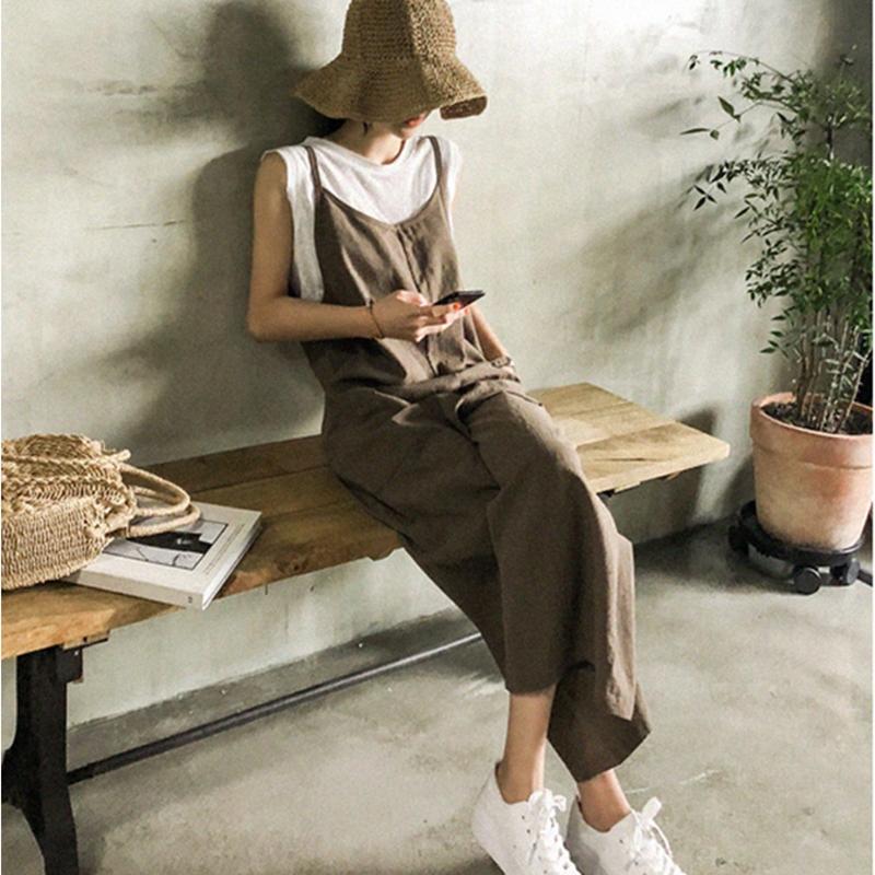 韓国 ファッション オールインワン オーバーオール 春 夏 秋 カジュアル PTXI712  コットンリネン風 ゆったり ラフ シンプル オルチャン シンプル 定番 セレカジの写真4枚目