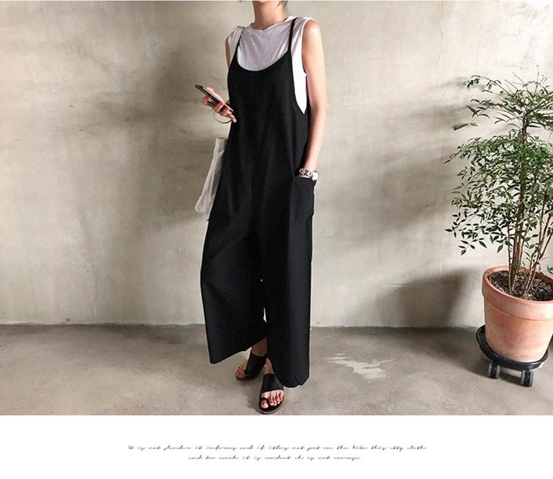 韓国 ファッション オールインワン オーバーオール 春 夏 秋 カジュアル PTXI712  コットンリネン風 ゆったり ラフ シンプル オルチャン シンプル 定番 セレカジの写真6枚目