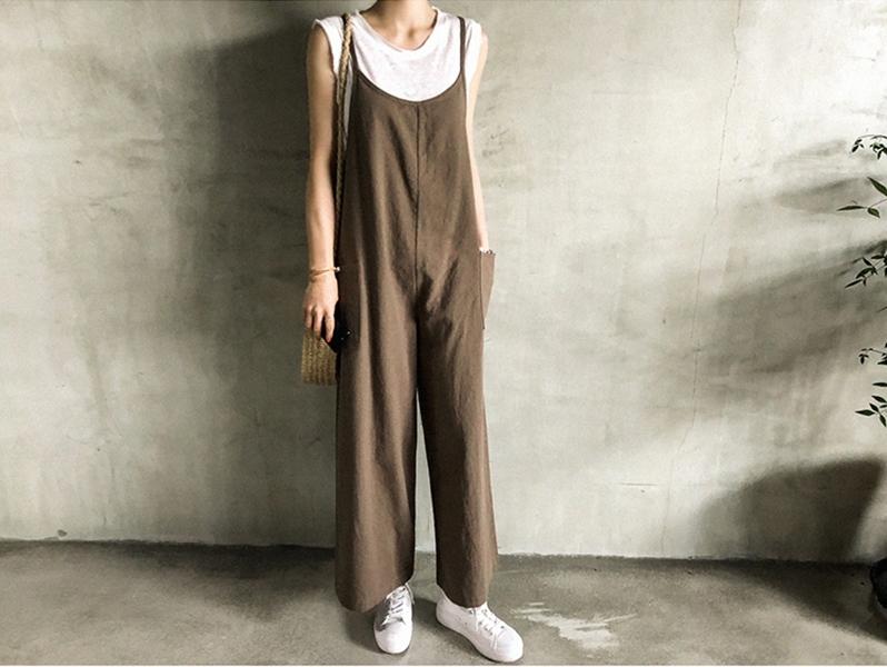 韓国 ファッション オールインワン オーバーオール 春 夏 秋 カジュアル PTXI712  コットンリネン風 ゆったり ラフ シンプル オルチャン シンプル 定番 セレカジの写真10枚目
