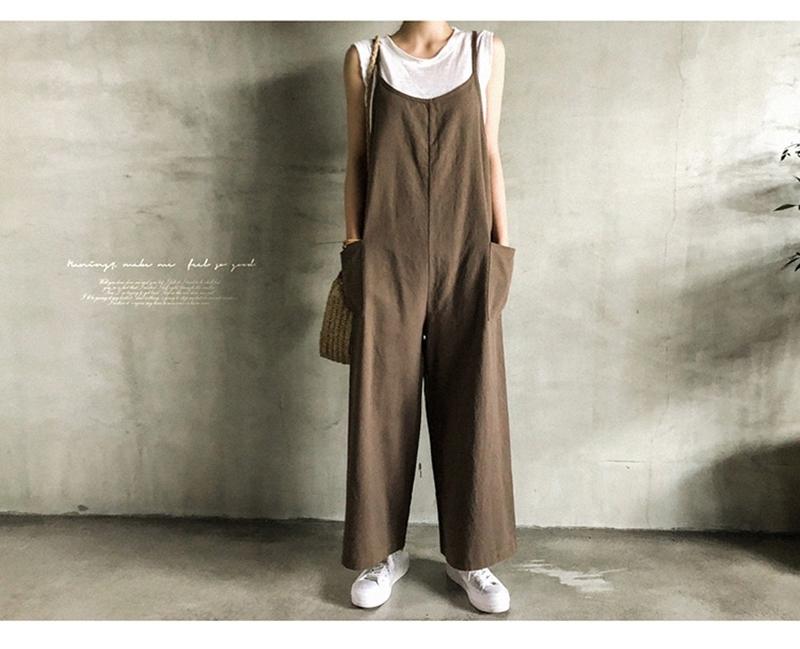 韓国 ファッション オールインワン オーバーオール 春 夏 秋 カジュアル PTXI712  コットンリネン風 ゆったり ラフ シンプル オルチャン シンプル 定番 セレカジの写真12枚目