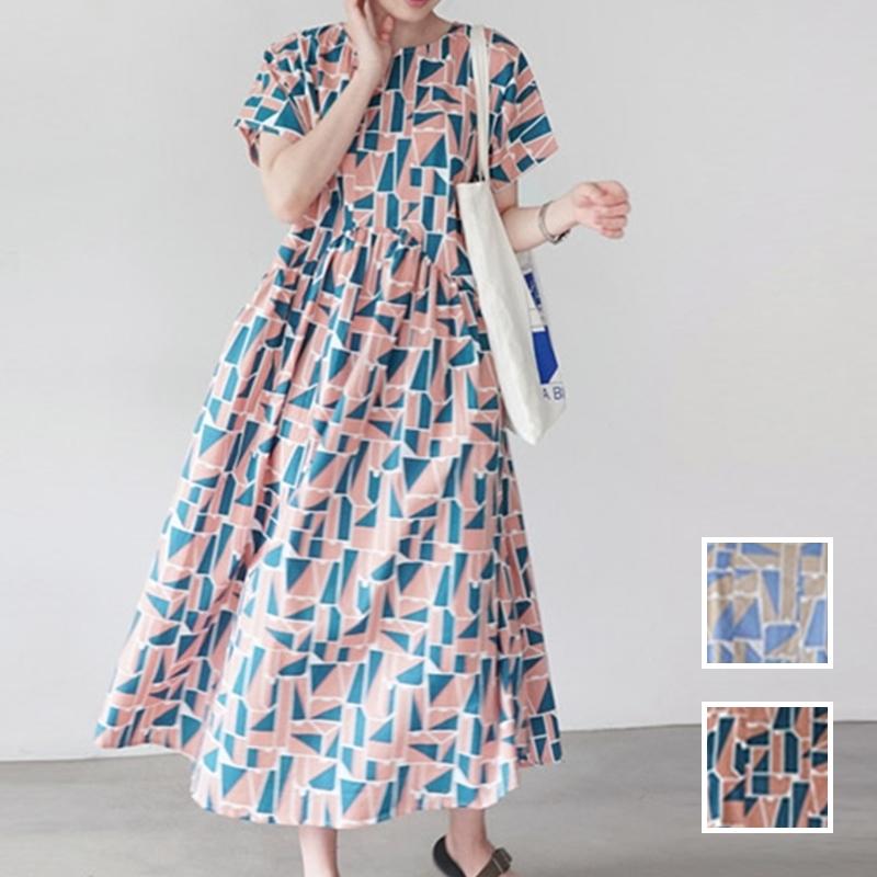 韓国 ファッション ワンピース 夏 春 カジュアル PTXI721  ジオメトリック くすみカラー レトロ ゆったり オルチャン シンプル 定番 セレカジの写真1枚目