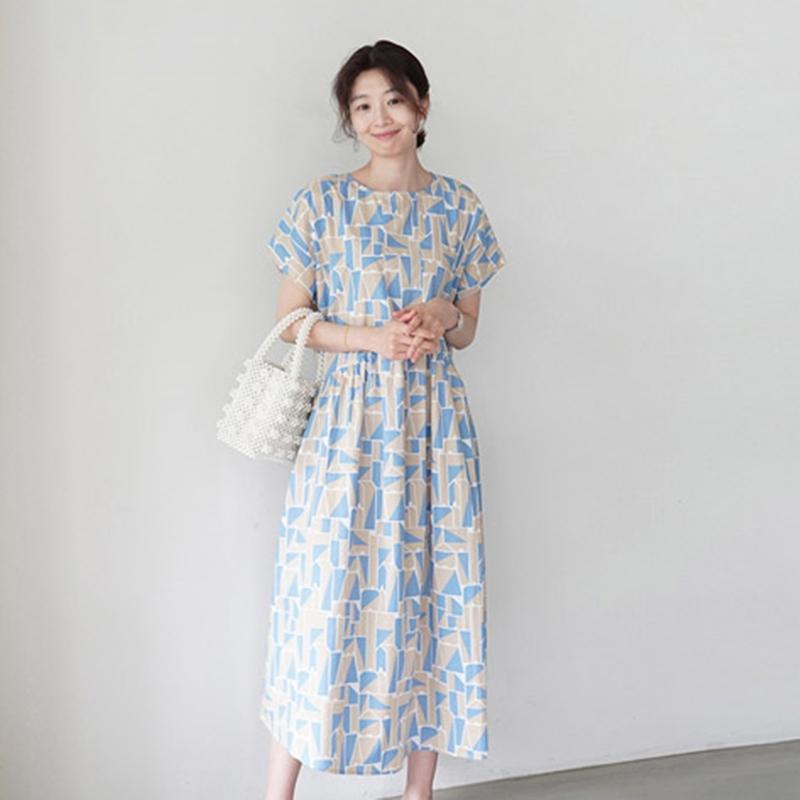 韓国 ファッション ワンピース 夏 春 カジュアル PTXI721  ジオメトリック くすみカラー レトロ ゆったり オルチャン シンプル 定番 セレカジの写真2枚目