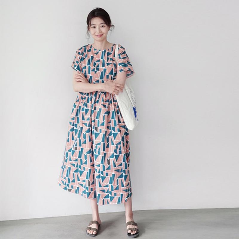 韓国 ファッション ワンピース 夏 春 カジュアル PTXI721  ジオメトリック くすみカラー レトロ ゆったり オルチャン シンプル 定番 セレカジの写真3枚目