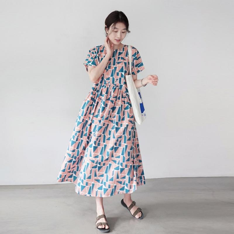 韓国 ファッション ワンピース 夏 春 カジュアル PTXI721  ジオメトリック くすみカラー レトロ ゆったり オルチャン シンプル 定番 セレカジの写真4枚目