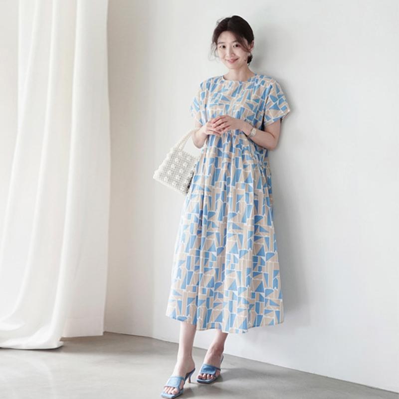 韓国 ファッション ワンピース 夏 春 カジュアル PTXI721  ジオメトリック くすみカラー レトロ ゆったり オルチャン シンプル 定番 セレカジの写真5枚目