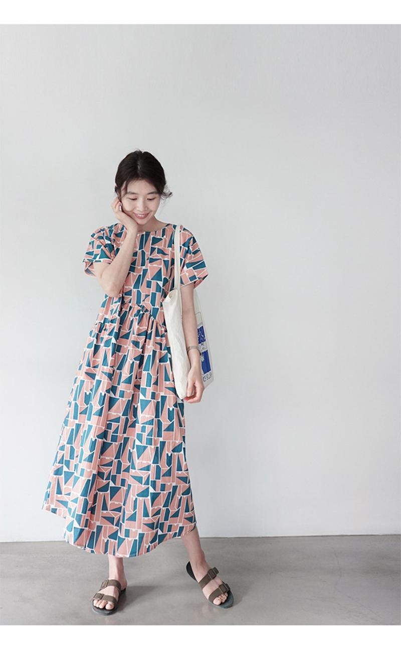 韓国 ファッション ワンピース 夏 春 カジュアル PTXI721  ジオメトリック くすみカラー レトロ ゆったり オルチャン シンプル 定番 セレカジの写真7枚目