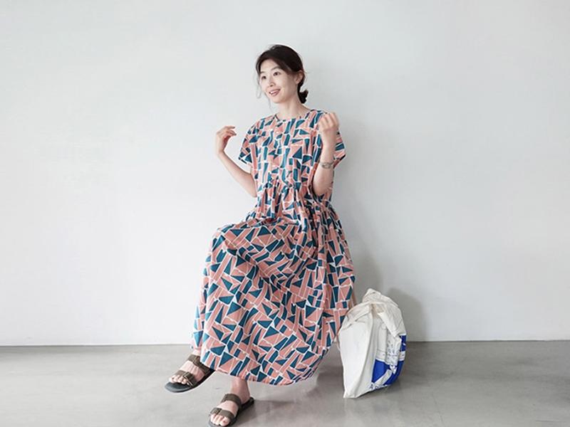韓国 ファッション ワンピース 夏 春 カジュアル PTXI721  ジオメトリック くすみカラー レトロ ゆったり オルチャン シンプル 定番 セレカジの写真8枚目