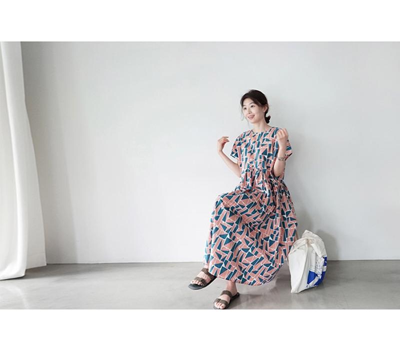 韓国 ファッション ワンピース 夏 春 カジュアル PTXI721  ジオメトリック くすみカラー レトロ ゆったり オルチャン シンプル 定番 セレカジの写真9枚目