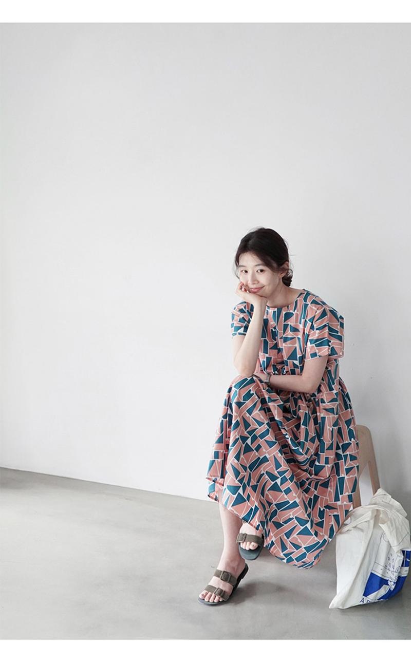 韓国 ファッション ワンピース 夏 春 カジュアル PTXI721  ジオメトリック くすみカラー レトロ ゆったり オルチャン シンプル 定番 セレカジの写真10枚目