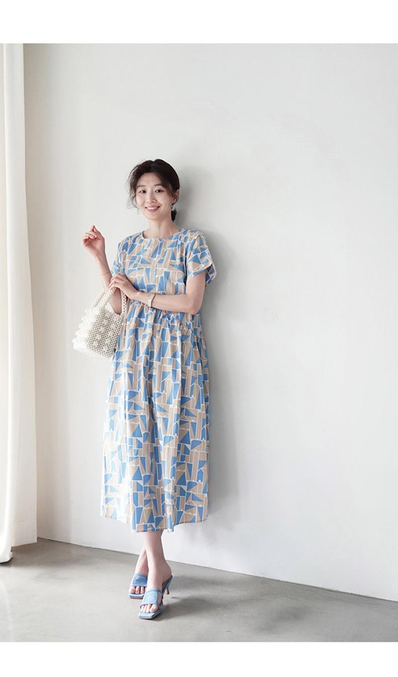 韓国 ファッション ワンピース 夏 春 カジュアル PTXI721  ジオメトリック くすみカラー レトロ ゆったり オルチャン シンプル 定番 セレカジの写真11枚目