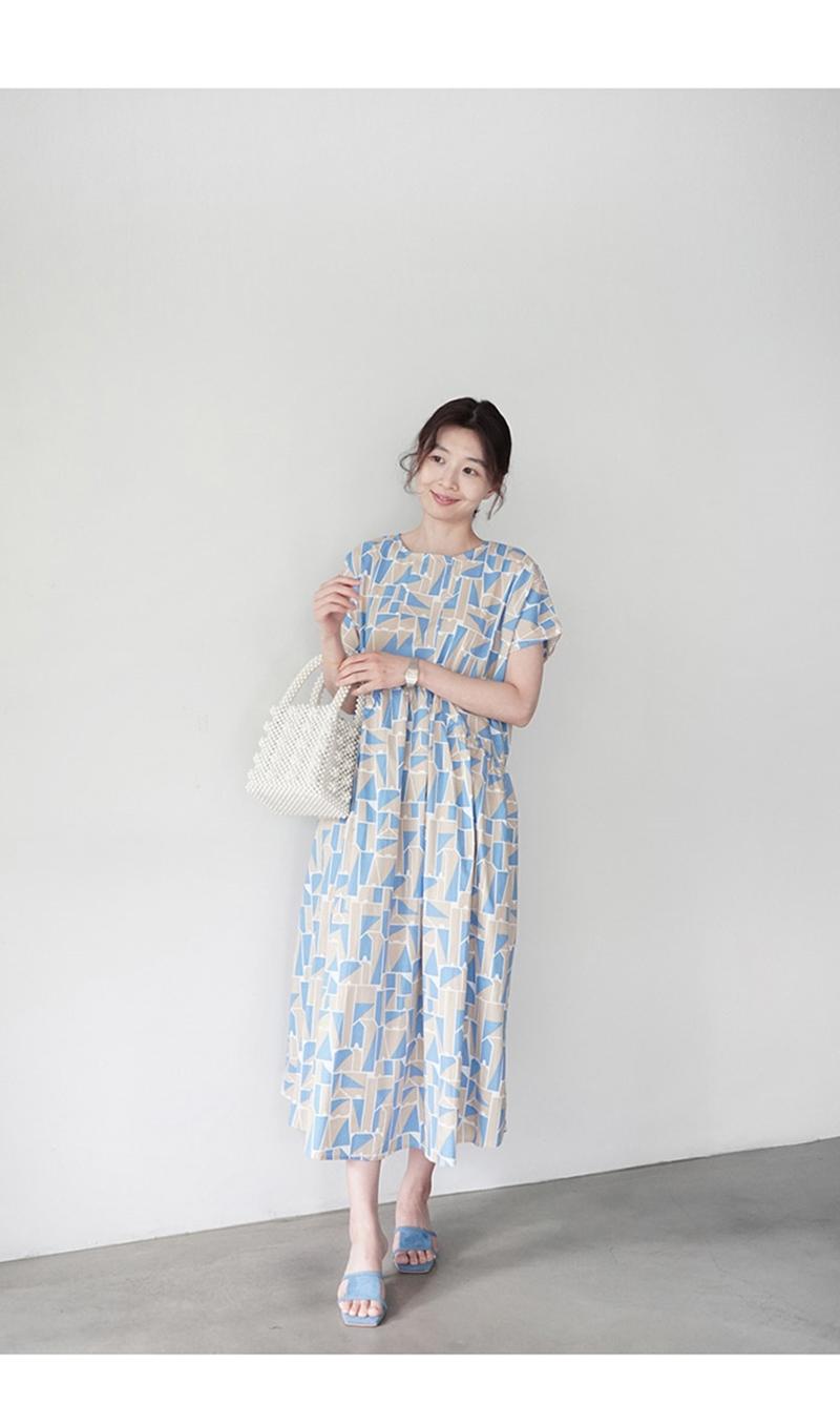 韓国 ファッション ワンピース 夏 春 カジュアル PTXI721  ジオメトリック くすみカラー レトロ ゆったり オルチャン シンプル 定番 セレカジの写真12枚目