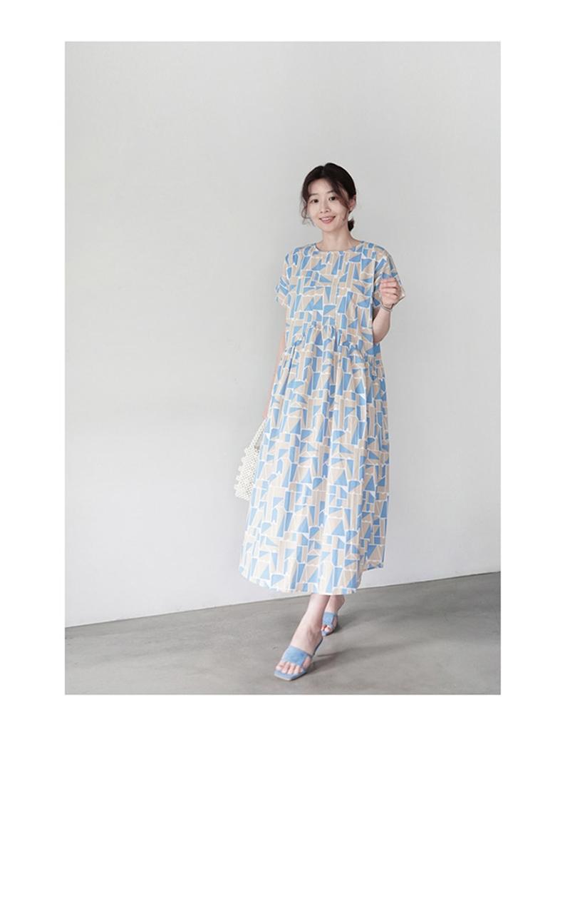 韓国 ファッション ワンピース 夏 春 カジュアル PTXI721  ジオメトリック くすみカラー レトロ ゆったり オルチャン シンプル 定番 セレカジの写真13枚目