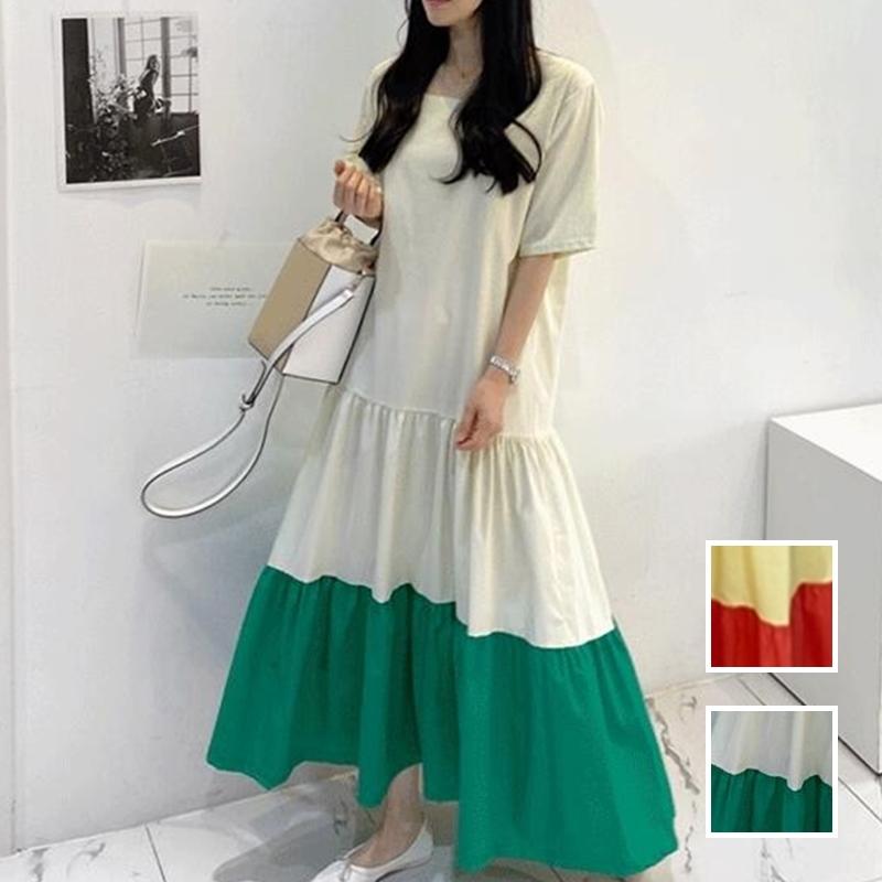 韓国 ファッション ワンピース 夏 春 カジュアル PTXI722  ローウエスト ティアード ゆったり マキシ オルチャン シンプル 定番 セレカジの写真1枚目