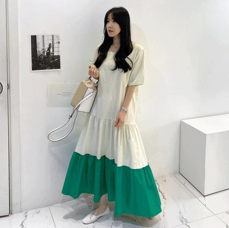 韓国 ファッション ワンピース 夏 春 カジュアル PTXI722  ローウエスト ティアード ゆったり マキシ オルチャン シンプル 定番 セレカジの写真2枚目