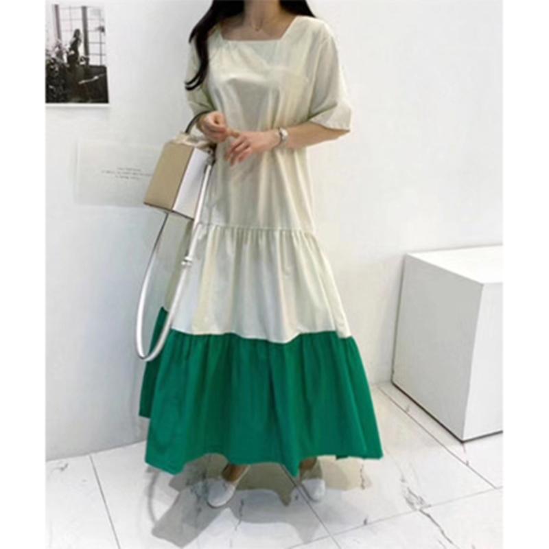 韓国 ファッション ワンピース 夏 春 カジュアル PTXI722  ローウエスト ティアード ゆったり マキシ オルチャン シンプル 定番 セレカジの写真3枚目