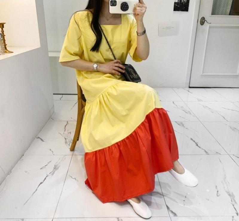 韓国 ファッション ワンピース 夏 春 カジュアル PTXI722  ローウエスト ティアード ゆったり マキシ オルチャン シンプル 定番 セレカジの写真5枚目