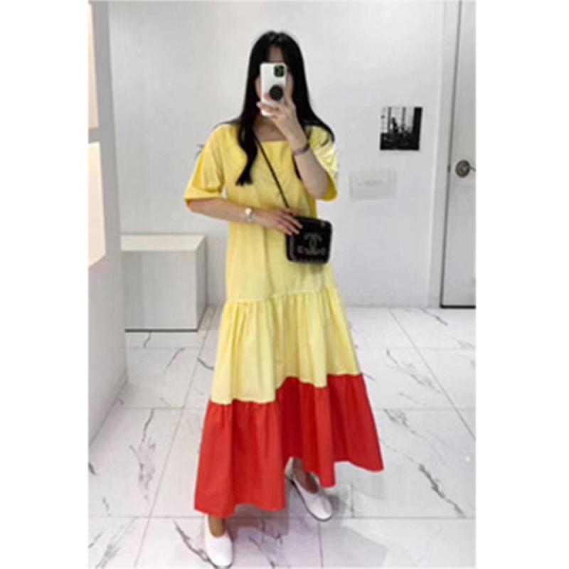 韓国 ファッション ワンピース 夏 春 カジュアル PTXI722  ローウエスト ティアード ゆったり マキシ オルチャン シンプル 定番 セレカジの写真6枚目