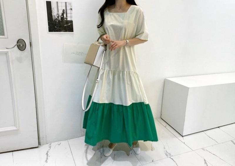 韓国 ファッション ワンピース 夏 春 カジュアル PTXI722  ローウエスト ティアード ゆったり マキシ オルチャン シンプル 定番 セレカジの写真7枚目