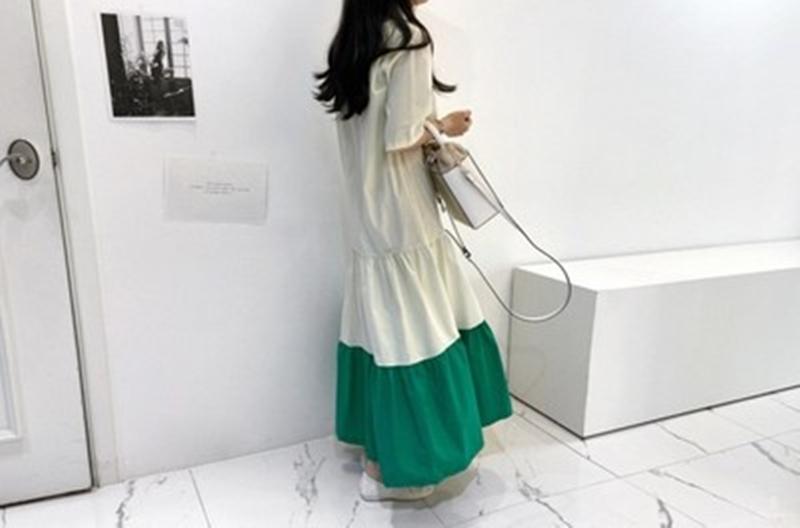 韓国 ファッション ワンピース 夏 春 カジュアル PTXI722  ローウエスト ティアード ゆったり マキシ オルチャン シンプル 定番 セレカジの写真8枚目