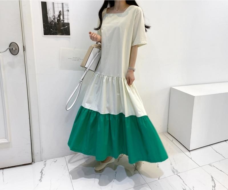 韓国 ファッション ワンピース 夏 春 カジュアル PTXI722  ローウエスト ティアード ゆったり マキシ オルチャン シンプル 定番 セレカジの写真9枚目