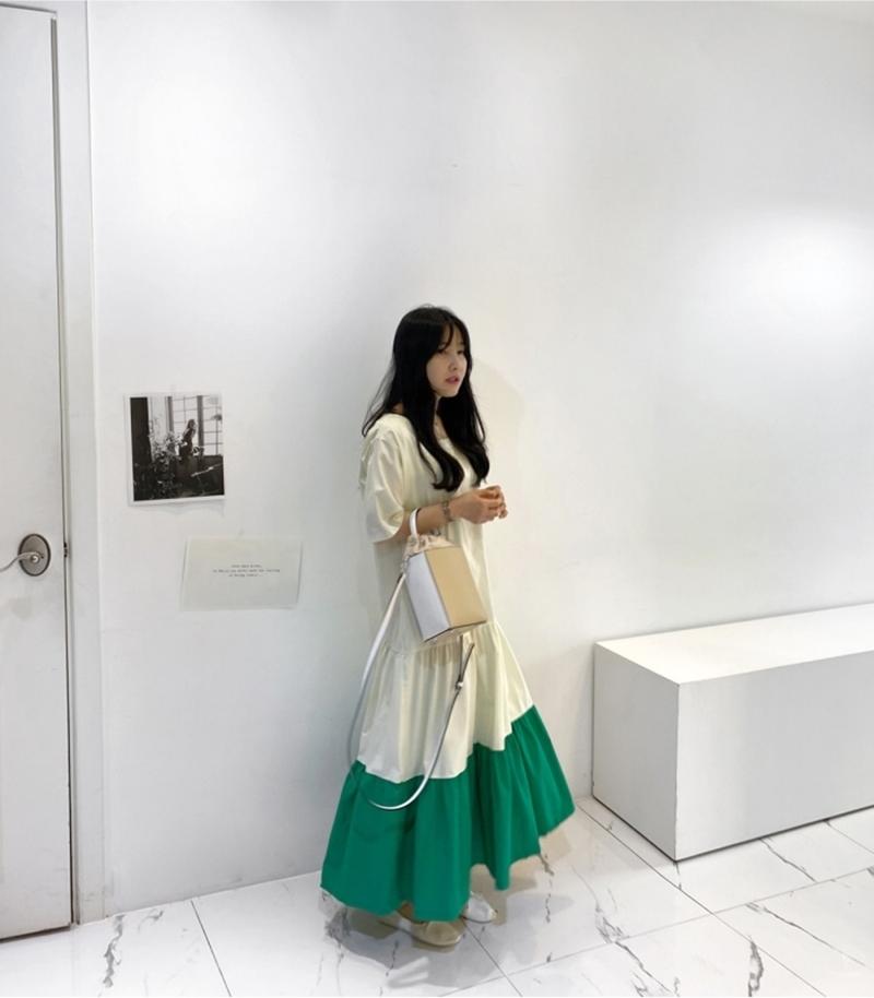 韓国 ファッション ワンピース 夏 春 カジュアル PTXI722  ローウエスト ティアード ゆったり マキシ オルチャン シンプル 定番 セレカジの写真10枚目