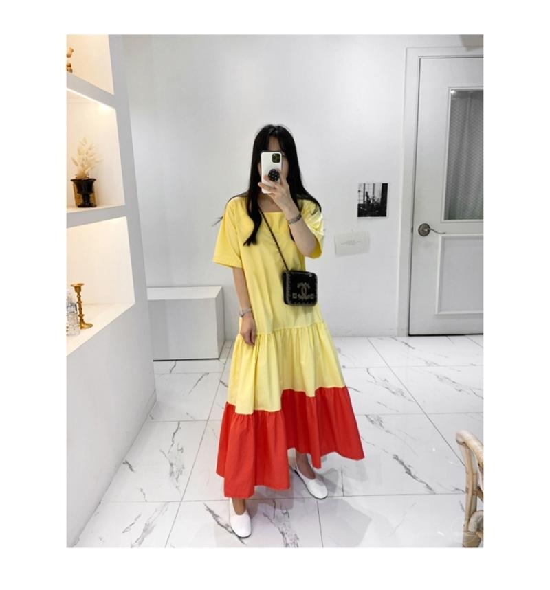 韓国 ファッション ワンピース 夏 春 カジュアル PTXI722  ローウエスト ティアード ゆったり マキシ オルチャン シンプル 定番 セレカジの写真11枚目