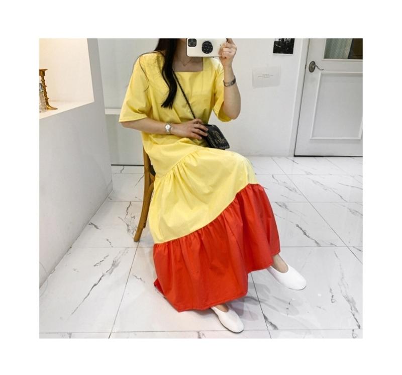 韓国 ファッション ワンピース 夏 春 カジュアル PTXI722  ローウエスト ティアード ゆったり マキシ オルチャン シンプル 定番 セレカジの写真12枚目