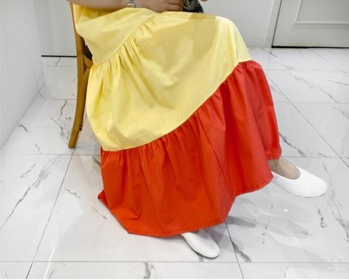韓国 ファッション ワンピース 夏 春 カジュアル PTXI722  ローウエスト ティアード ゆったり マキシ オルチャン シンプル 定番 セレカジの写真14枚目