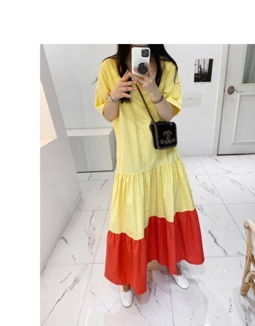 韓国 ファッション ワンピース 夏 春 カジュアル PTXI722  ローウエスト ティアード ゆったり マキシ オルチャン シンプル 定番 セレカジの写真16枚目