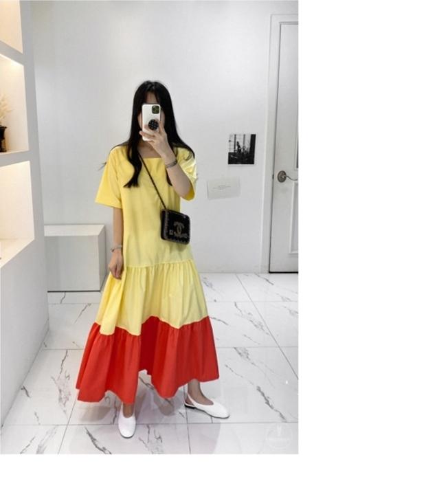 韓国 ファッション ワンピース 夏 春 カジュアル PTXI722  ローウエスト ティアード ゆったり マキシ オルチャン シンプル 定番 セレカジの写真17枚目