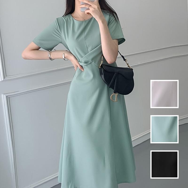 韓国 ファッション ワンピース 夏 春 カジュアル PTXI723  ねじり ウエストマーク シンプル ドレープ オルチャン シンプル 定番 セレカジの写真1枚目