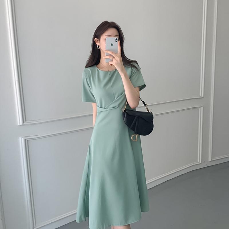 韓国 ファッション ワンピース 夏 春 カジュアル PTXI723  ねじり ウエストマーク シンプル ドレープ オルチャン シンプル 定番 セレカジの写真2枚目