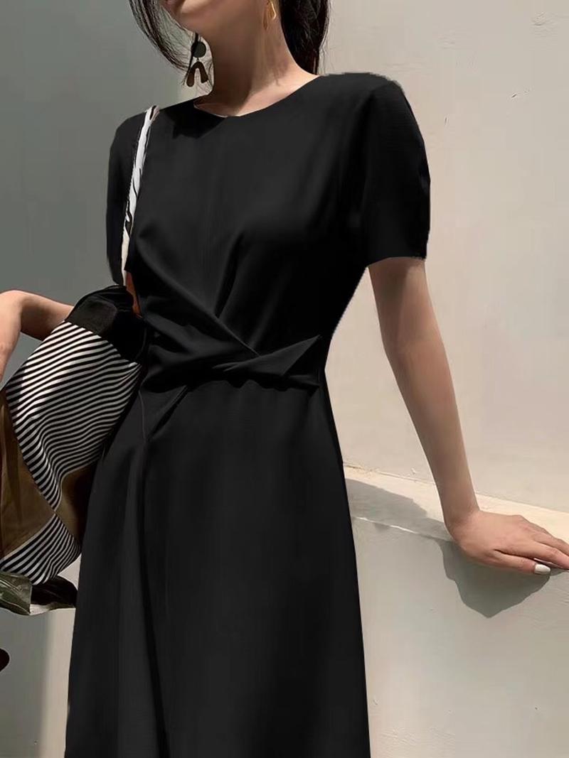 韓国 ファッション ワンピース 夏 春 カジュアル PTXI723  ねじり ウエストマーク シンプル ドレープ オルチャン シンプル 定番 セレカジの写真4枚目