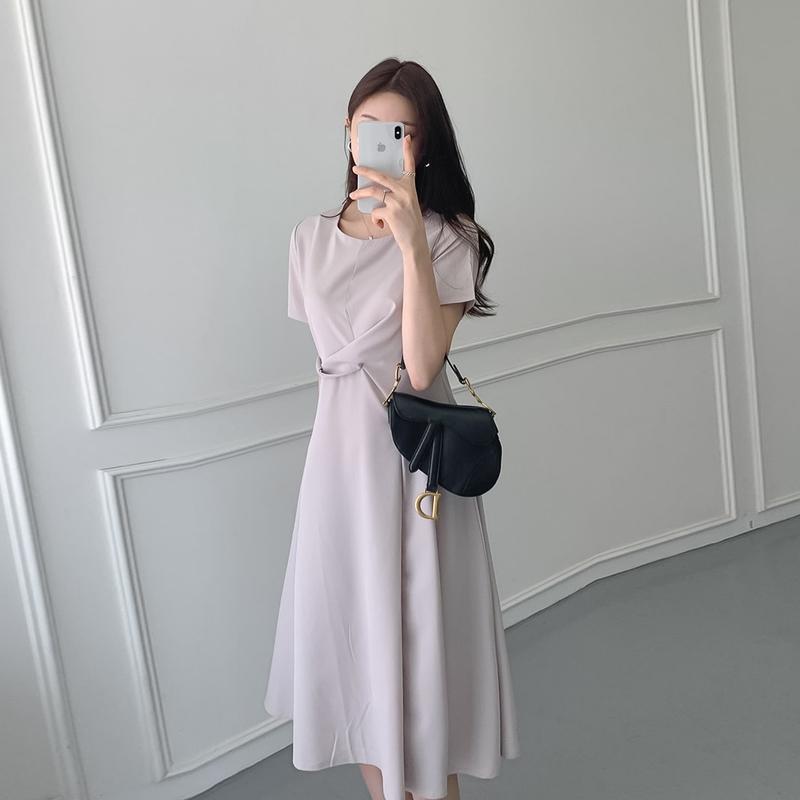 韓国 ファッション ワンピース 夏 春 カジュアル PTXI723  ねじり ウエストマーク シンプル ドレープ オルチャン シンプル 定番 セレカジの写真5枚目