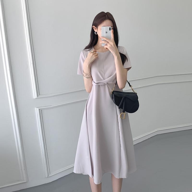 韓国 ファッション ワンピース 夏 春 カジュアル PTXI723  ねじり ウエストマーク シンプル ドレープ オルチャン シンプル 定番 セレカジの写真6枚目