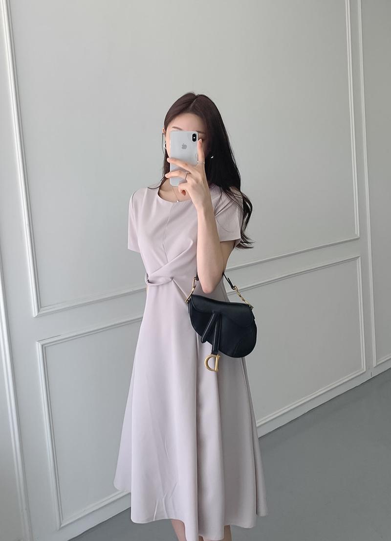 韓国 ファッション ワンピース 夏 春 カジュアル PTXI723  ねじり ウエストマーク シンプル ドレープ オルチャン シンプル 定番 セレカジの写真7枚目