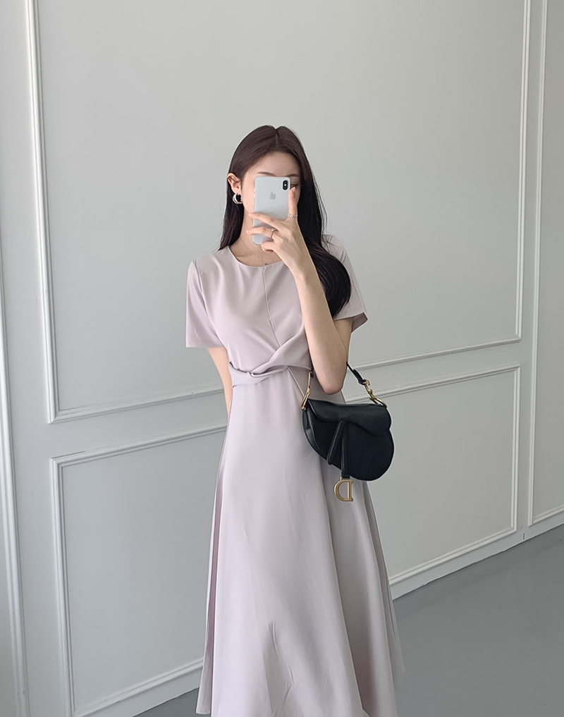 韓国 ファッション ワンピース 夏 春 カジュアル PTXI723  ねじり ウエストマーク シンプル ドレープ オルチャン シンプル 定番 セレカジの写真8枚目
