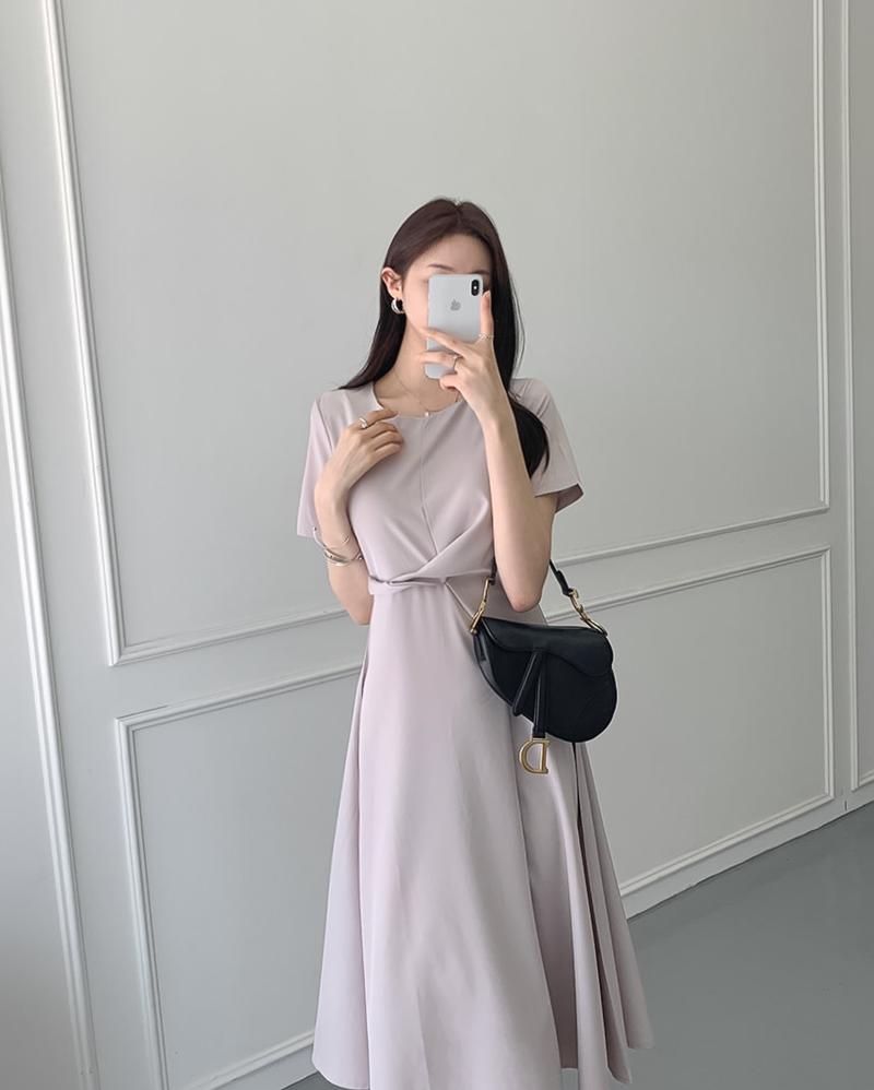韓国 ファッション ワンピース 夏 春 カジュアル PTXI723  ねじり ウエストマーク シンプル ドレープ オルチャン シンプル 定番 セレカジの写真9枚目