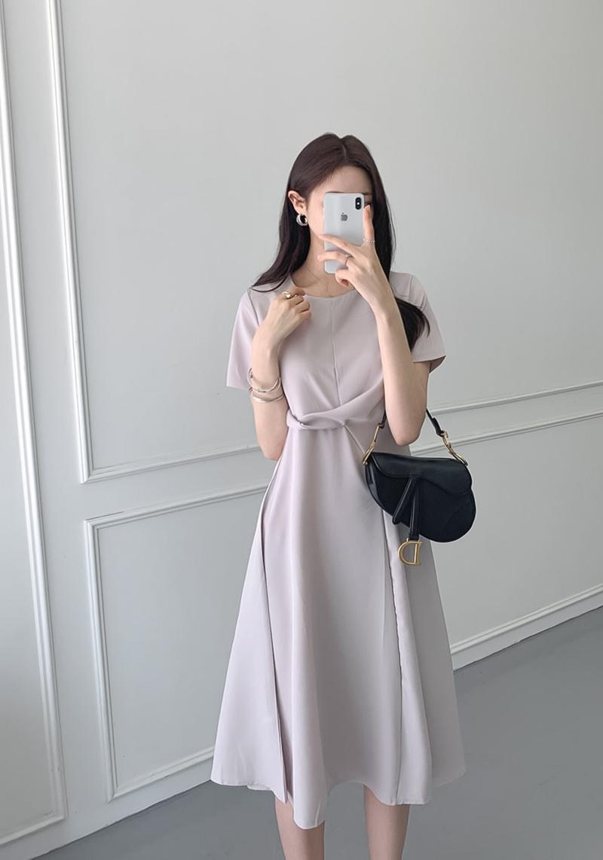 韓国 ファッション ワンピース 夏 春 カジュアル PTXI723  ねじり ウエストマーク シンプル ドレープ オルチャン シンプル 定番 セレカジの写真11枚目