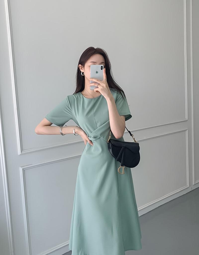 韓国 ファッション ワンピース 夏 春 カジュアル PTXI723  ねじり ウエストマーク シンプル ドレープ オルチャン シンプル 定番 セレカジの写真12枚目