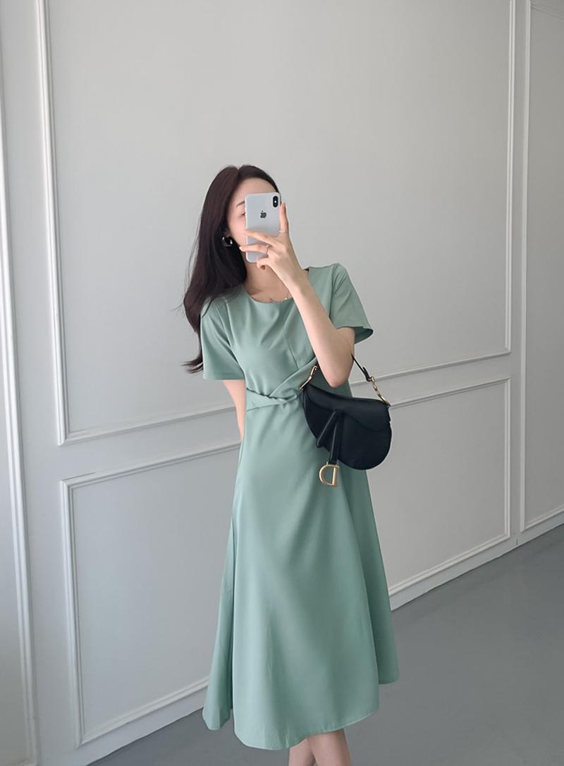 韓国 ファッション ワンピース 夏 春 カジュアル PTXI723  ねじり ウエストマーク シンプル ドレープ オルチャン シンプル 定番 セレカジの写真14枚目