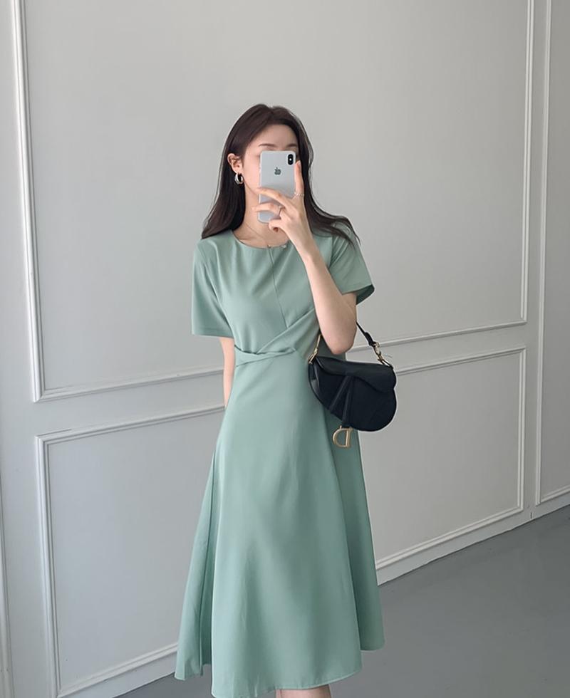 韓国 ファッション ワンピース 夏 春 カジュアル PTXI723  ねじり ウエストマーク シンプル ドレープ オルチャン シンプル 定番 セレカジの写真16枚目