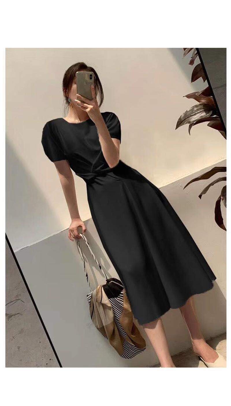 韓国 ファッション ワンピース 夏 春 カジュアル PTXI723  ねじり ウエストマーク シンプル ドレープ オルチャン シンプル 定番 セレカジの写真18枚目