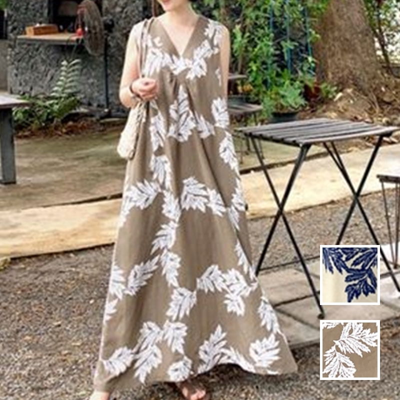 韓国 ファッション ワンピース 夏 春 カジュアル PTXI724  ゆったり Aライン マキシ丈 リゾートドレス オルチャン シンプル 定番 セレカジの写真1枚目