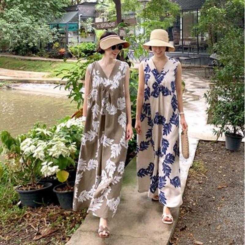 韓国 ファッション ワンピース 夏 春 カジュアル PTXI724  ゆったり Aライン マキシ丈 リゾートドレス オルチャン シンプル 定番 セレカジの写真2枚目