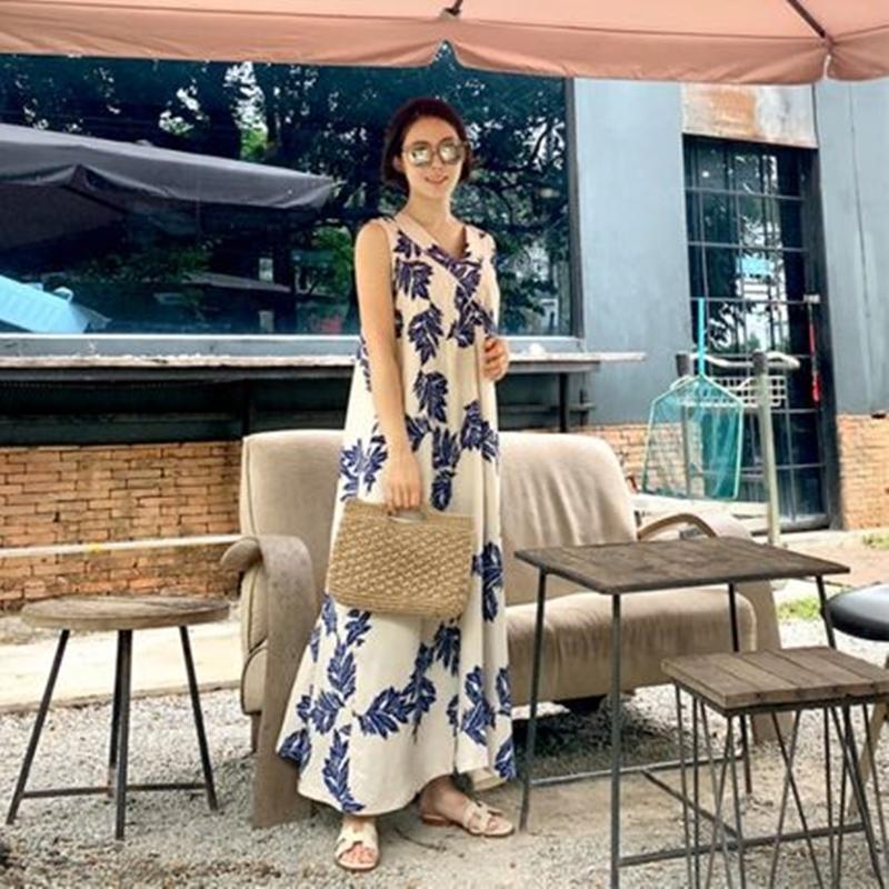 韓国 ファッション ワンピース 夏 春 カジュアル PTXI724  ゆったり Aライン マキシ丈 リゾートドレス オルチャン シンプル 定番 セレカジの写真3枚目